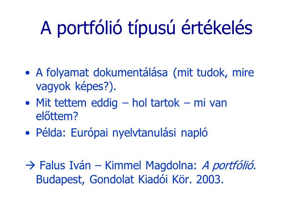 A portfólió típusú értékelés A folyamat dokumentálása (mit tudok, mire vagyok képes?). Mit tettem eddig – hol tartok – mi van előttem? Példa: Európai