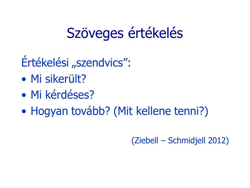 """Szöveges értékelés Értékelési """"szendvics"""": Mi sikerült? Mi kérdéses? Hogyan tovább? (Mit kellene tenni?) (Ziebell – Schmidjell 2012)"""