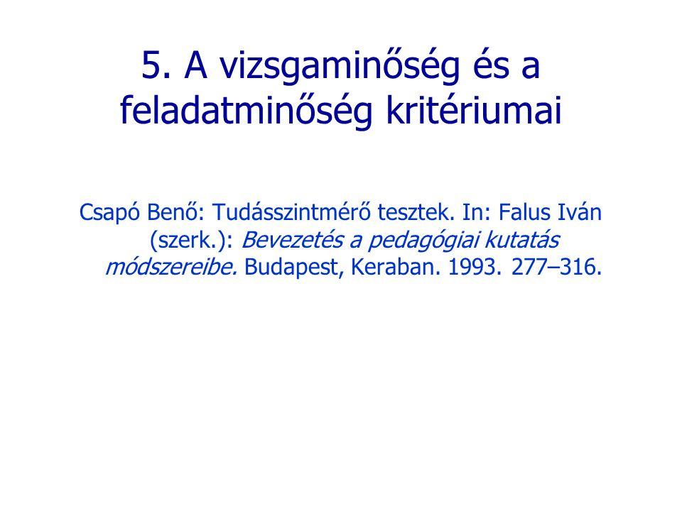 5. A vizsgaminőség és a feladatminőség kritériumai Csapó Benő: Tudásszintmérő tesztek. In: Falus Iván (szerk.): Bevezetés a pedagógiai kutatás módszer