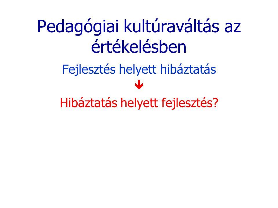 Pedagógiai kultúraváltás az értékelésben Fejlesztés helyett hibáztatás  Hibáztatás helyett fejlesztés?
