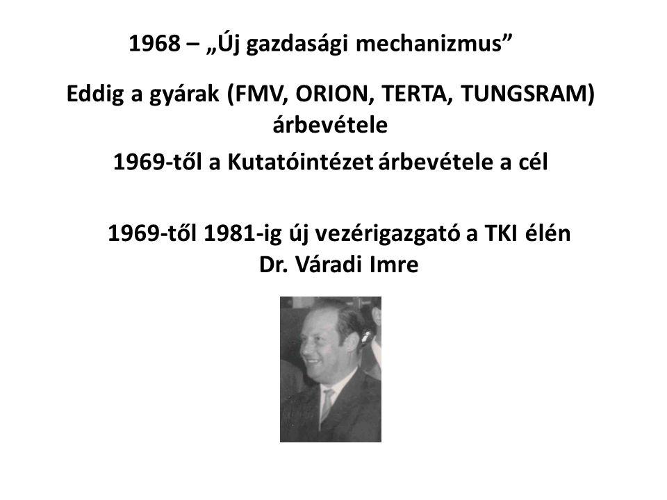 """1968 – """"Új gazdasági mechanizmus"""" Eddig a gyárak (FMV, ORION, TERTA, TUNGSRAM) árbevétele 1969-től a Kutatóintézet árbevétele a cél 1969-től 1981-ig ú"""