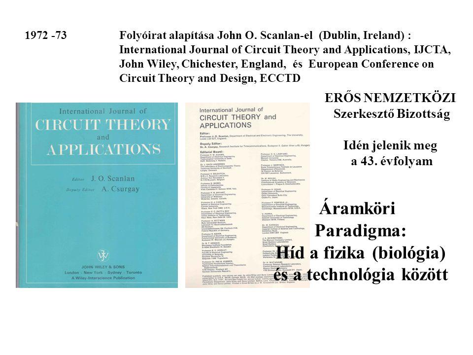 ERŐS NEMZETKÖZI Szerkesztő Bizottság Idén jelenik meg a 43. évfolyam Áramköri Paradigma: Híd a fizika (biológia) és a technológia között 1972 -73 Foly