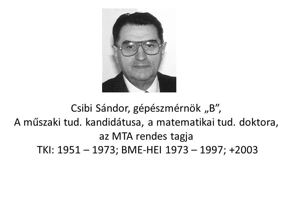 """Csibi Sándor, gépészmérnök """"B"""", A műszaki tud. kandidátusa, a matematikai tud. doktora, az MTA rendes tagja TKI: 1951 – 1973; BME-HEI 1973 – 1997; +20"""