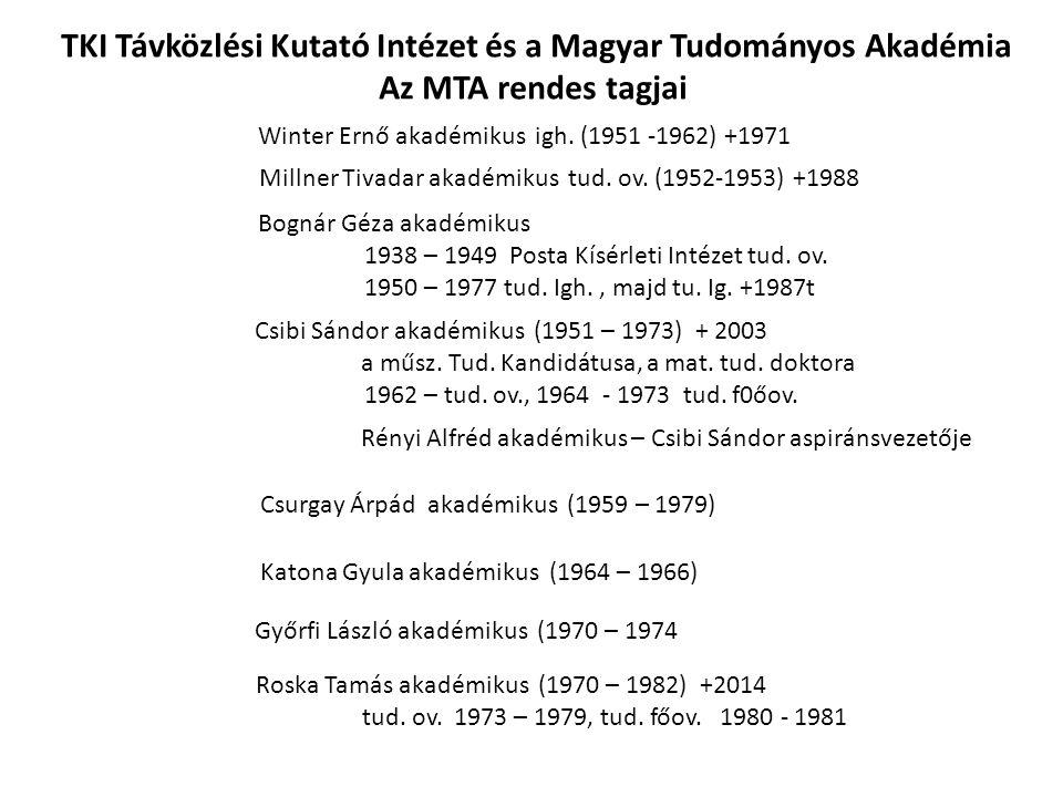 Winter Ernő akadémikus igh. (1951 -1962) +1971 Millner Tivadar akadémikus tud. ov. (1952-1953) +1988 Bognár Géza akadémikus 1938 – 1949 Posta Kísérlet