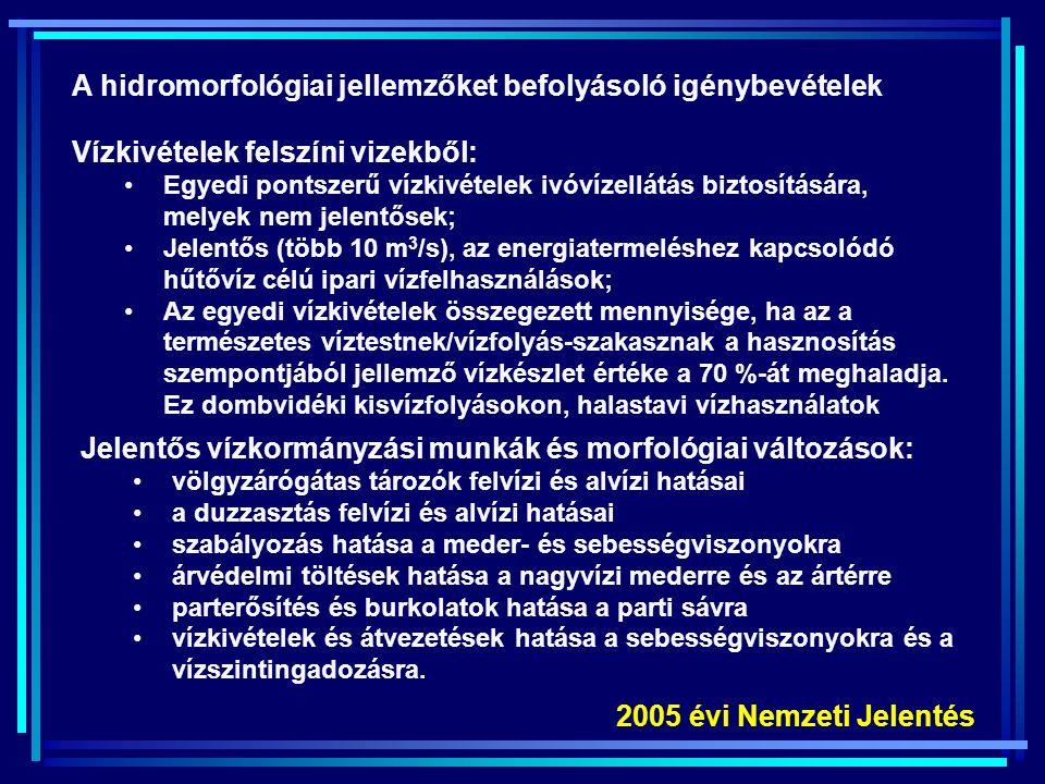 1.Hagyományos szennyezők: BOI, KOI, N, P  Kommunális szennyvízkibocsátók  Diffúz (mezőgazdasági, belterületi) 2.Veszélyes anyagok  Növényvédőszerek  Közvetlen ipari kibocsátók  Egyéb 3.Hatások a hidromorfológiai jellemzőkre  Vízkivételek  Tározás  Meder és partszabályozás Terhelések és hatások részletes elemzése 2005 évi Nemzeti Jelentés
