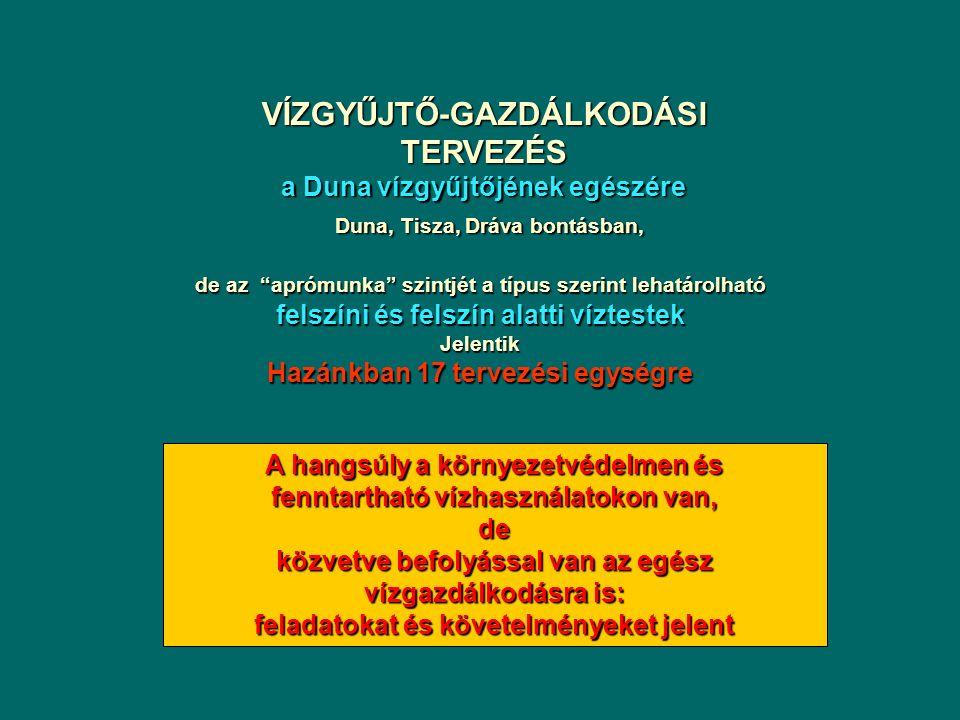 Következő feladatok: Vízgyűjtő Gazdálkodási Tervek (2009) Lényeg: intézkedési tervek kidolgozása  Alapintézkedések (kormányzati rendeletek vannak rá) Szennyvíz program, vízbázisvédelem, ivóvízminőség javító program, kármentesítési program, nitrát szennyezés elleni véd., növényvédőszerek használata, stb.)  Kiegészítő intézkedések (az alapintézkedéseken felül, a jó állapot elérésének biztosításához szükséges intézkedések) Felszíni és felszín alatti vizek szennyezése a terhelhetőség figyelembevételével A jó ökológiai állapot/potenciál elérését biztosító intézkedések a hidromorfológiai szempontból kockázatos víztestek esetében (új feladat, óriási beruházási igény!!!)