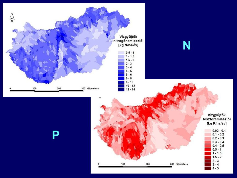 Diffúz terhelés becslés eredménye (Összes N, Összes P) 14% 6% 13% 1% 9% 57% TN: 20 kt/év 4% 13% 8% 2% 60% 13% Felszíni oldott Felszíni partikulált Felszín alatti oldott Települési felszíni oldott Települési partikulált Települési felszín alatti oldott TP: 3 kt/év