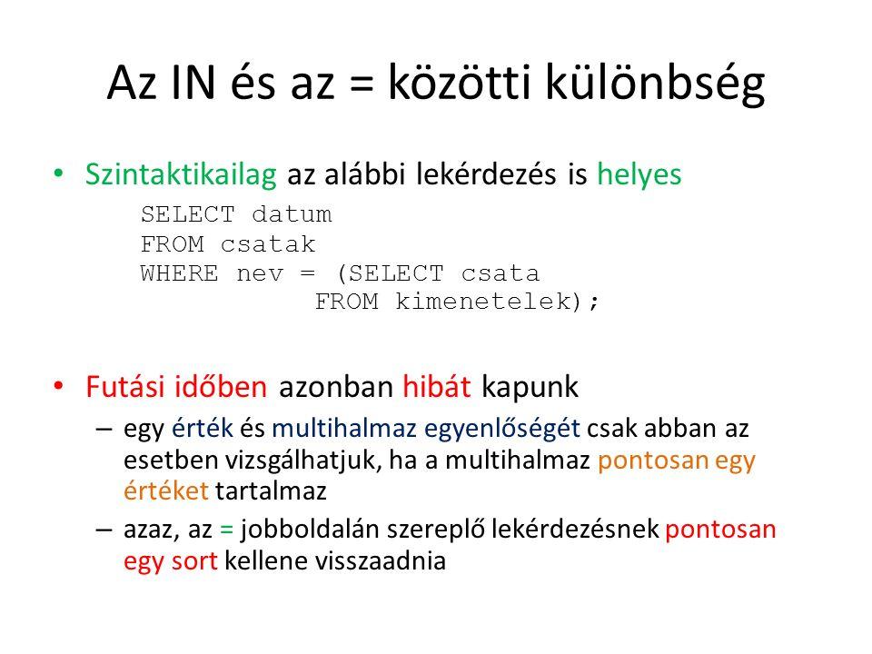 A többi aritmetikai művelet Hasonló mondható el a többi aritmetikai összehasonlítás esetében is SELECT nev FROM hajok WHERE felavatva > (SELECT TO_CHAR(datum, YYYY ) FROM csatak WHERE nev = Denmark Strait ); Helyes SELECT nev FROM hajok WHERE felavatva > (SELECT TO_CHAR(datum, YYYY ) FROM csatak WHERE datum > DATE 1943-01-01 ); Helytelen