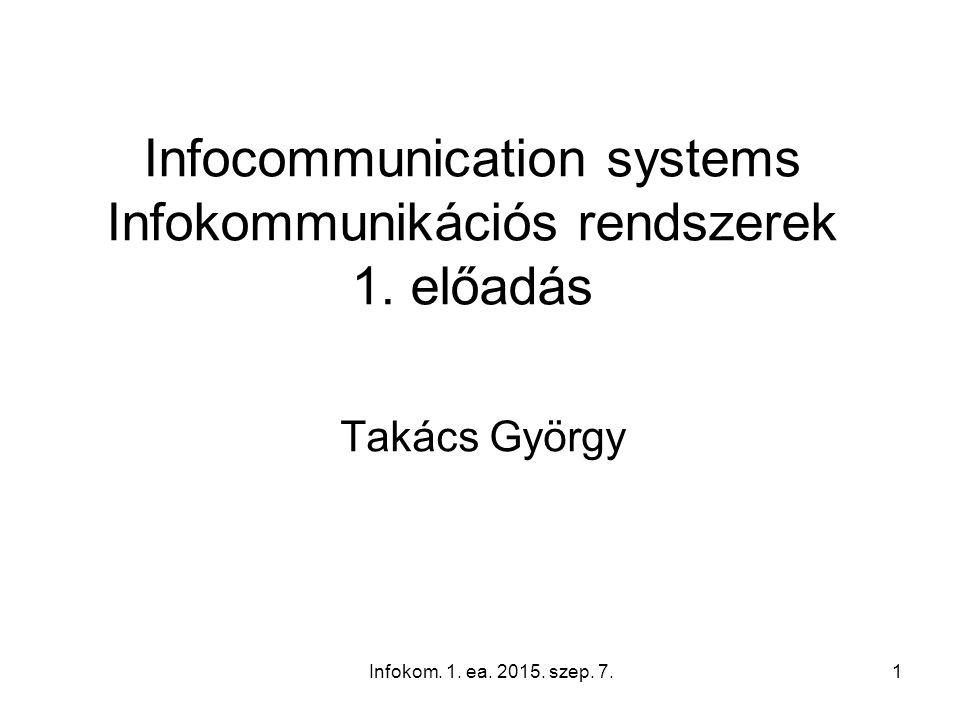 Infokom. 1. ea. 2015. szep. 7.1 Infocommunication systems Infokommunikációs rendszerek 1. előadás Takács György