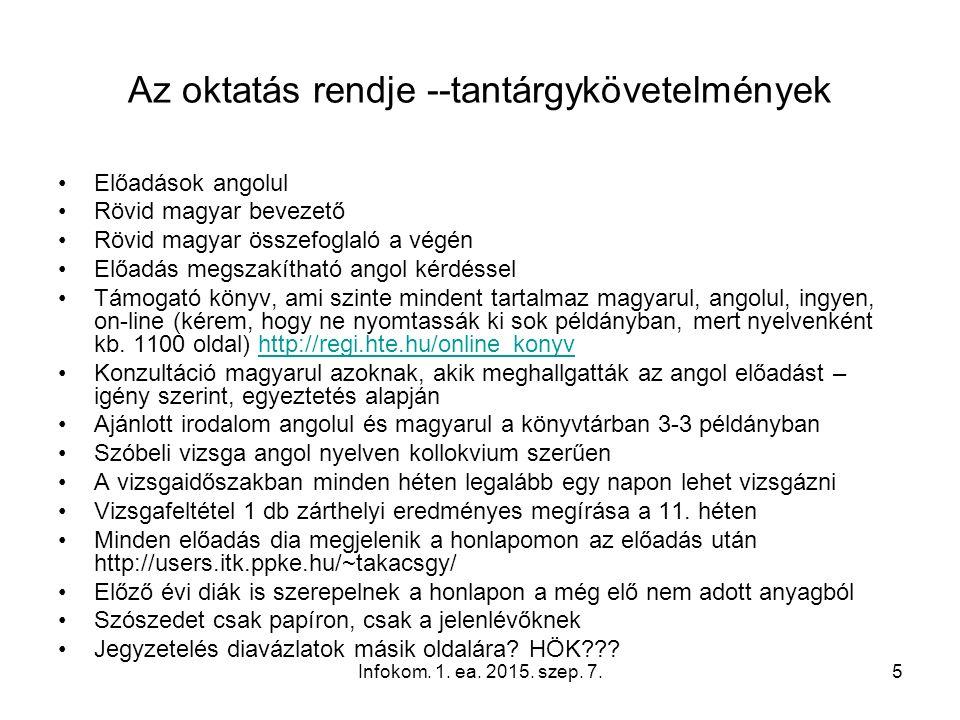 Infokom. 1. ea. 2015. szep. 7.5 Az oktatás rendje --tantárgykövetelmények Előadások angolul Rövid magyar bevezető Rövid magyar összefoglaló a végén El