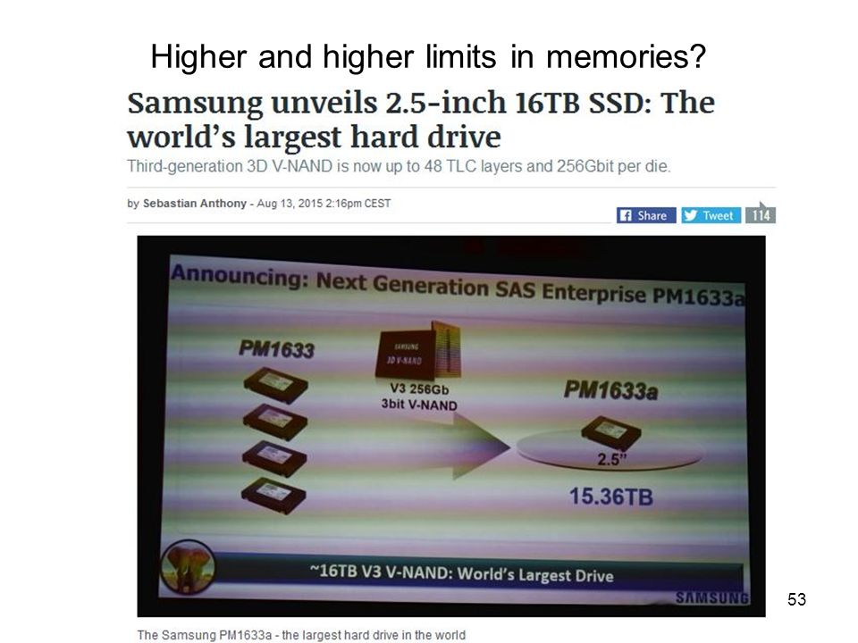 Infokom. 1. ea. 2015. szep. 7.53 Higher and higher limits in memories