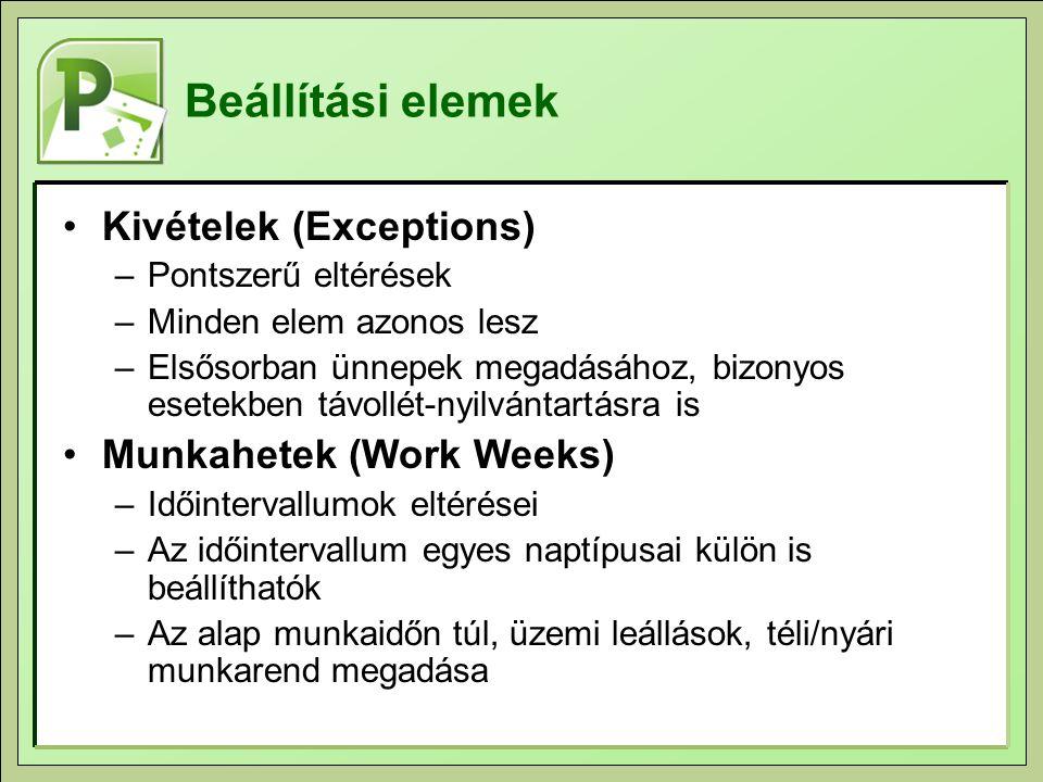 Beállítási elemek Kivételek (Exceptions) –Pontszerű eltérések –Minden elem azonos lesz –Elsősorban ünnepek megadásához, bizonyos esetekben távollét-nyilvántartásra is Munkahetek (Work Weeks) –Időintervallumok eltérései –Az időintervallum egyes naptípusai külön is beállíthatók –Az alap munkaidőn túl, üzemi leállások, téli/nyári munkarend megadása
