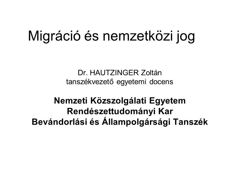Migráció szabályozása és idegenjog Migráció: emberi aktív magatartás, a tartózkodási hely megváltoztatásának szándékával Idegenjog: nem honos személyek jogállására vonatkozó szabályok összessége Migrációs jog ≠ idegenjog ≠ nemzetközi jog