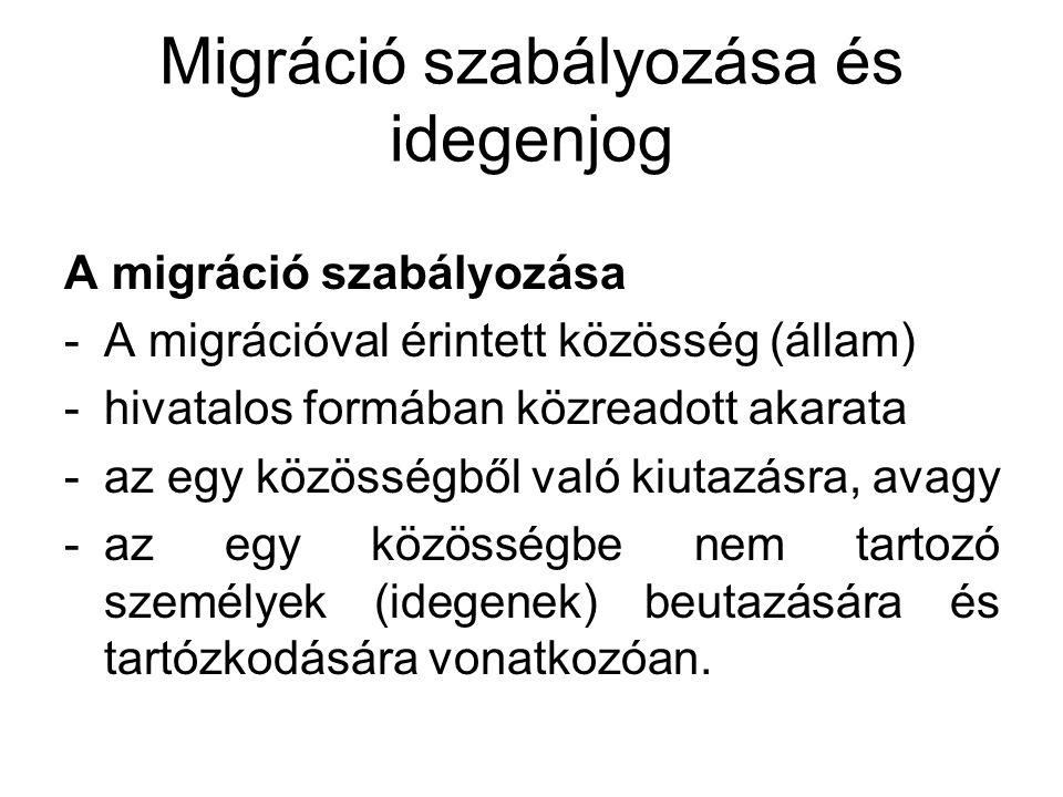 Migráció szabályozása és idegenjog A migráció szabályozása -A migrációval érintett közösség (állam) -hivatalos formában közreadott akarata -az egy köz