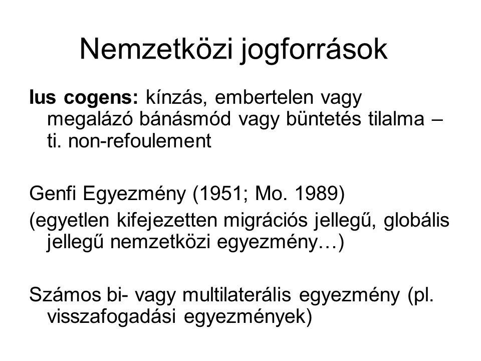 Nemzetközi jogforrások Ius cogens: kínzás, embertelen vagy megalázó bánásmód vagy büntetés tilalma – ti. non-refoulement Genfi Egyezmény (1951; Mo. 19