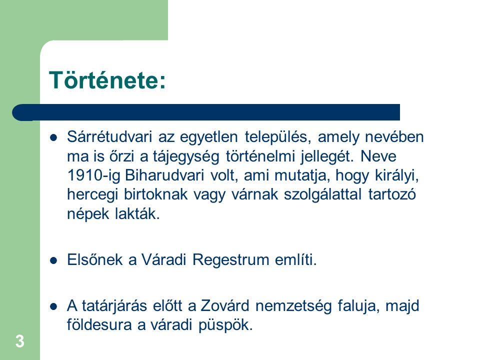 3 Története: Sárrétudvari az egyetlen település, amely nevében ma is őrzi a tájegység történelmi jellegét. Neve 1910-ig Biharudvari volt, ami mutatja,