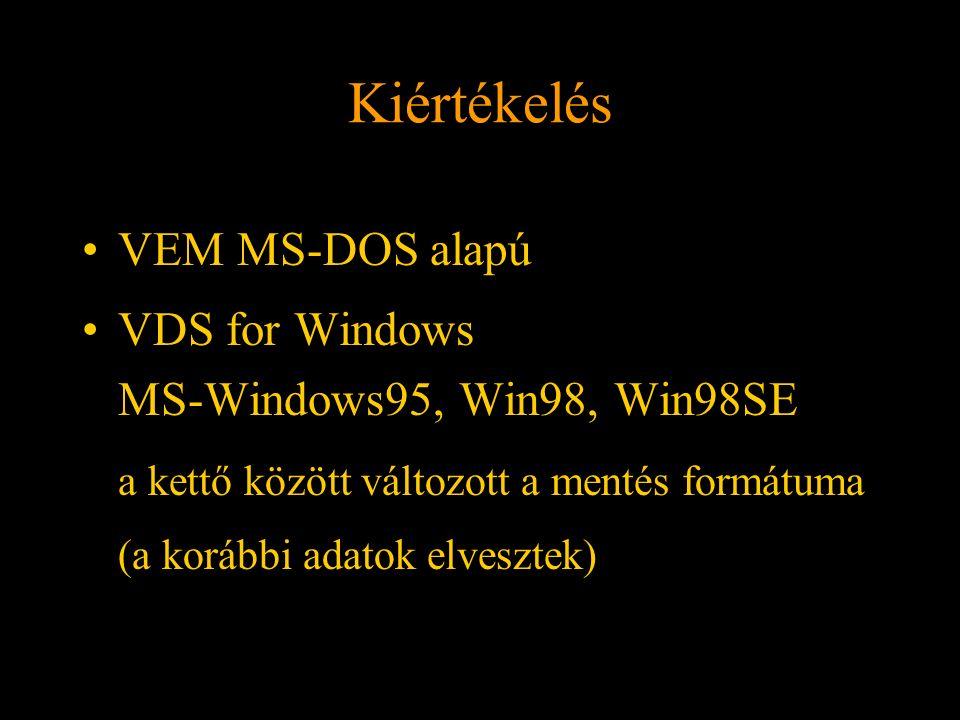 Kiértékelés VEM MS-DOS alapú VDS for Windows MS-Windows95, Win98, Win98SE a kettő között változott a mentés formátuma (a korábbi adatok elvesztek) Rét