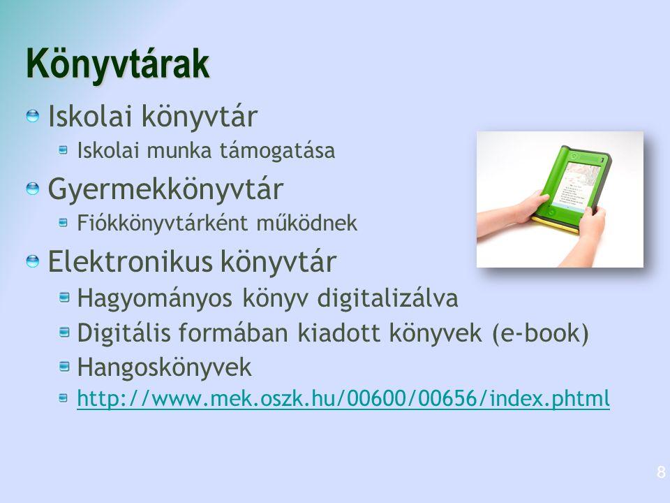 Könyvtárak Közművelődési könyvtár Lakosság szolgálatában Pl.