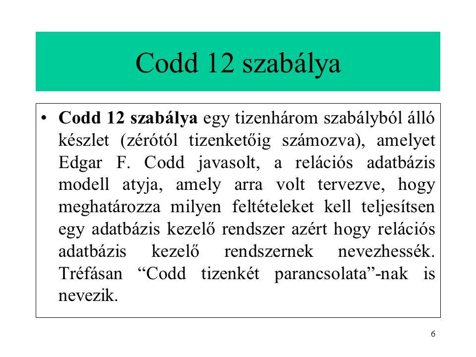 6 Codd 12 szabálya Codd 12 szabálya egy tizenhárom szabályból álló készlet (zérótól tizenketőig számozva), amelyet Edgar F.