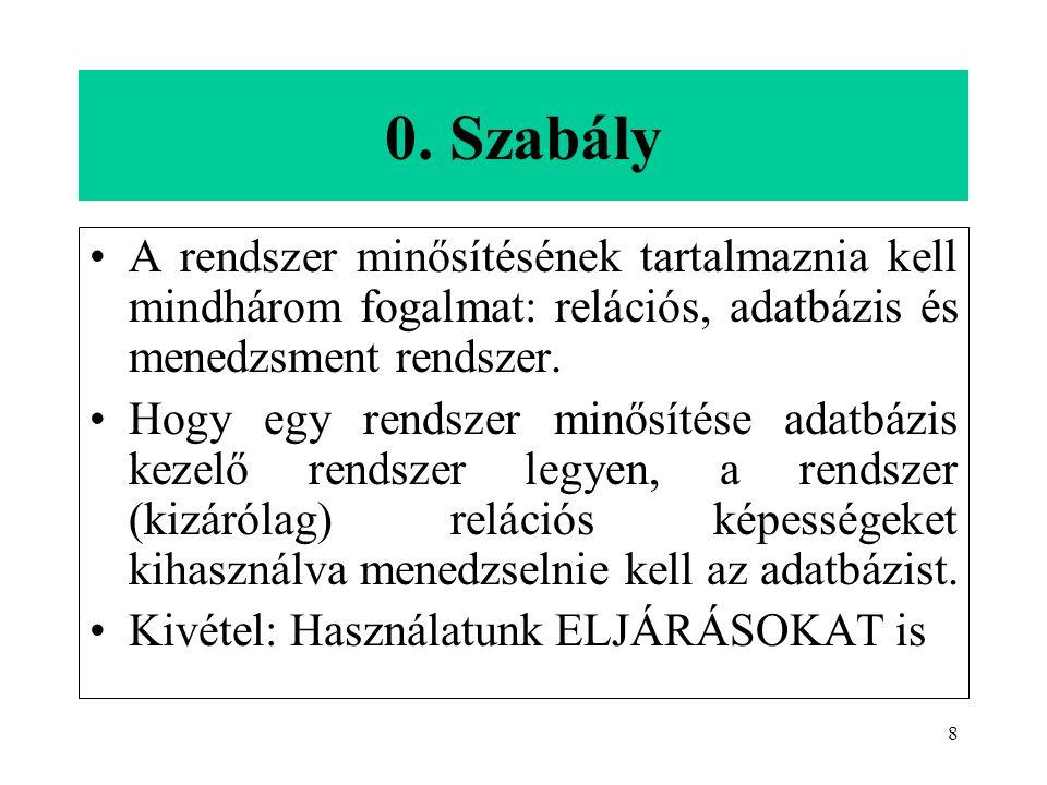 8 0. Szabály A rendszer minősítésének tartalmaznia kell mindhárom fogalmat: relációs, adatbázis és menedzsment rendszer. Hogy egy rendszer minősítése