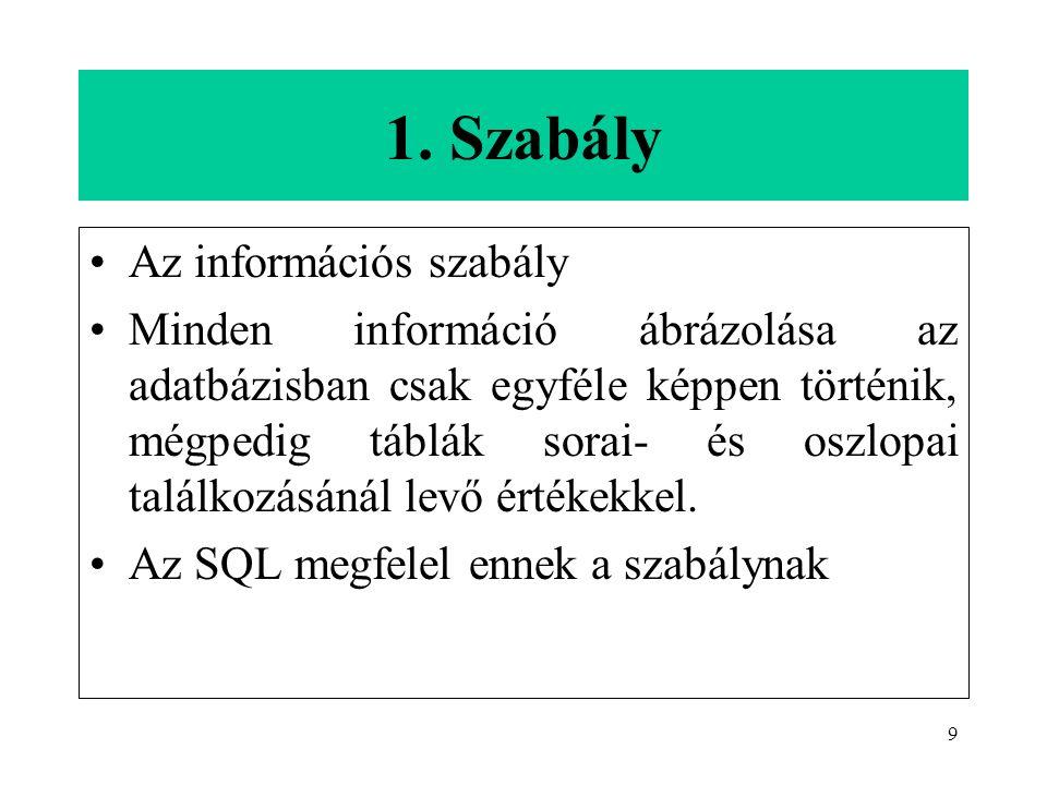 9 1. Szabály Az információs szabály Minden információ ábrázolása az adatbázisban csak egyféle képpen történik, mégpedig táblák sorai- és oszlopai talá