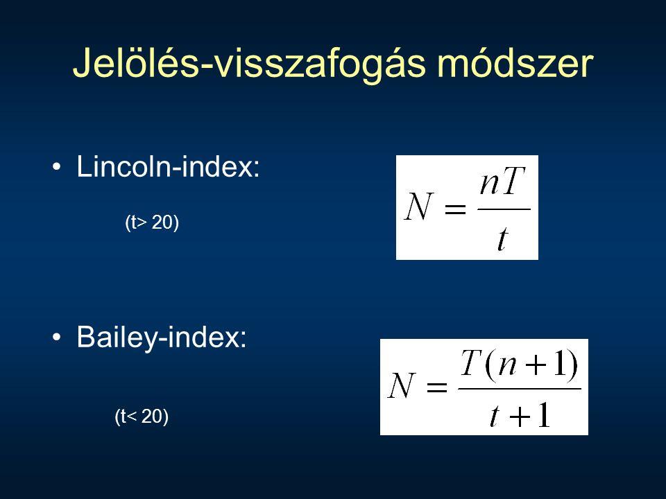 Jelölés-visszafogás módszer Lincoln-index: Bailey-index: (t< 20) (t> 20)