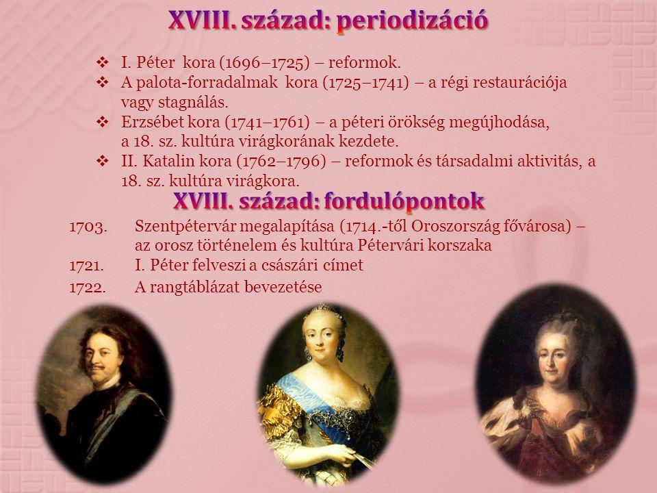  I. Péter kora (1696–1725) – reformok.  A palota-forradalmak kora (1725–1741) – a régi restaurációja vagy stagnálás.  Erzsébet kora (1741–1761) – a