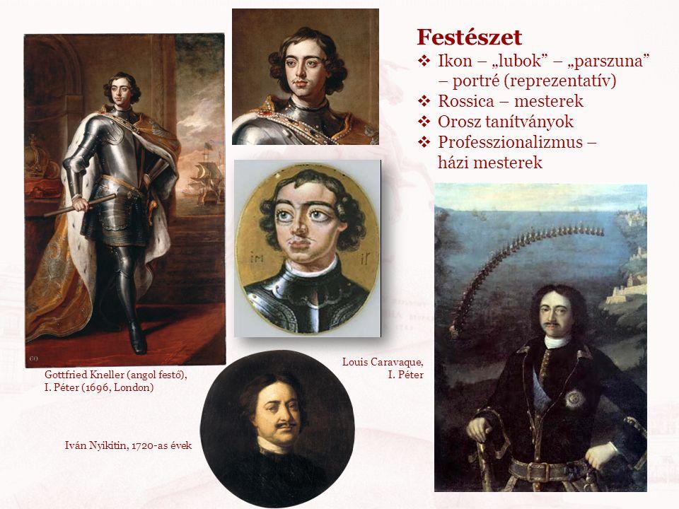 """Gottfried Kneller (angol festő), I. Péter (1696, London) Festészet  Ikon – """"lubok"""" – """"parszuna"""" – portré (reprezentatív)  Rossica – mesterek  Orosz"""
