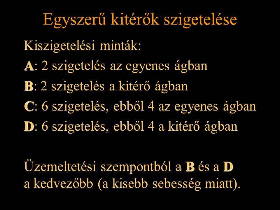 Rétlaki Győző: Szigetelések elhelyezése Egyszerű kitérők szigetelése Kiszigetelési minták: A A: 2 szigetelés az egyenes ágban B B: 2 szigetelés a kitérő ágban C C: 6 szigetelés, ebből 4 az egyenes ágban D D: 6 szigetelés, ebből 4 a kitérő ágban BD Üzemeltetési szempontból a B és a D a kedvezőbb (a kisebb sebesség miatt).