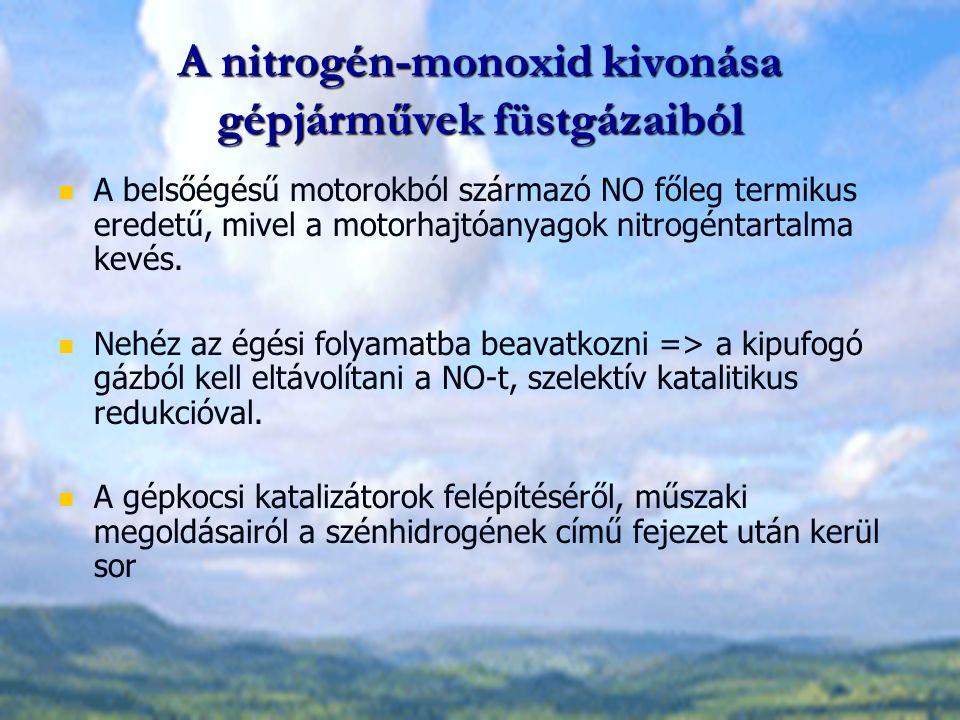 A nitrogén-monoxid kivonása gépjárművek füstgázaiból A belsőégésű motorokból származó NO főleg termikus eredetű, mivel a motorhajtóanyagok nitrogéntartalma kevés.