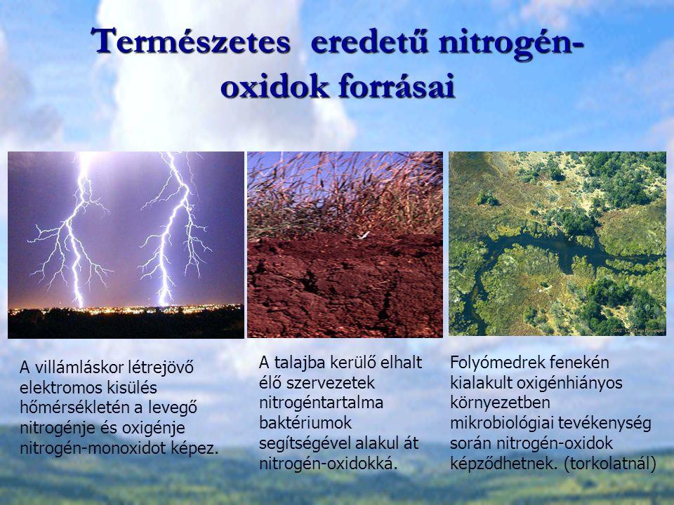 Természetes eredetű nitrogén- oxidok forrásai A villámláskor létrejövő elektromos kisülés hőmérsékletén a levegő nitrogénje és oxigénje nitrogén-monoxidot képez.
