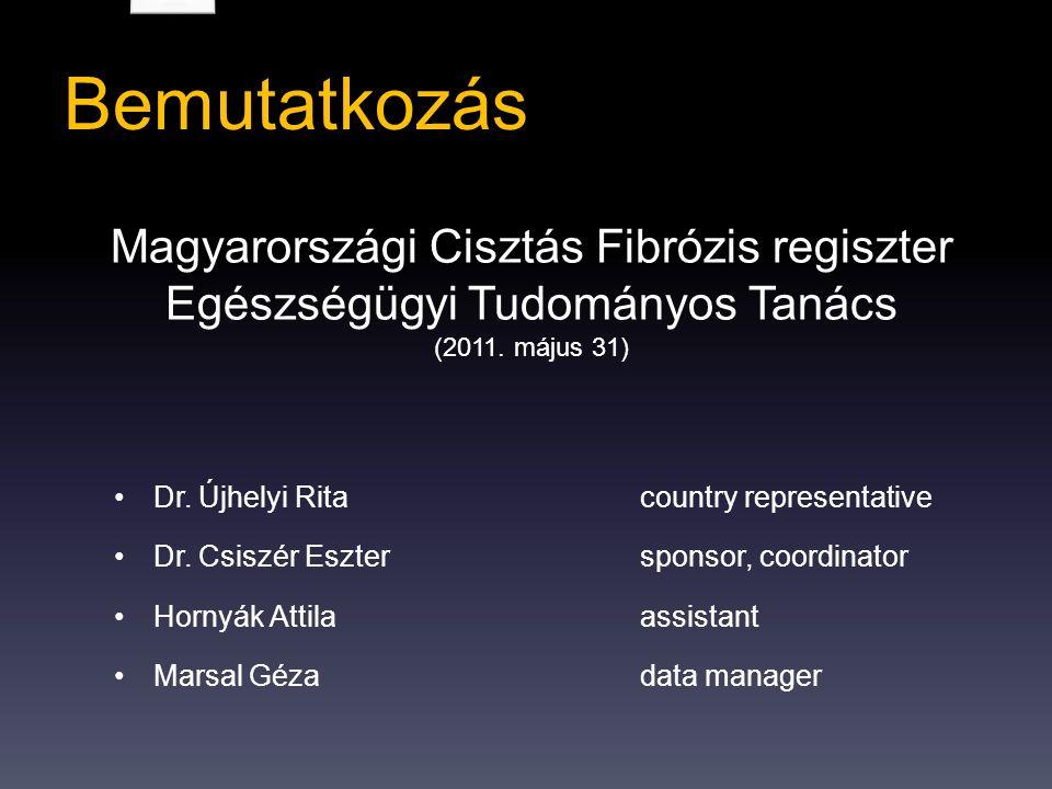 Bemutatkozás Magyarországi Cisztás Fibrózis regiszter Egészségügyi Tudományos Tanács (2011.