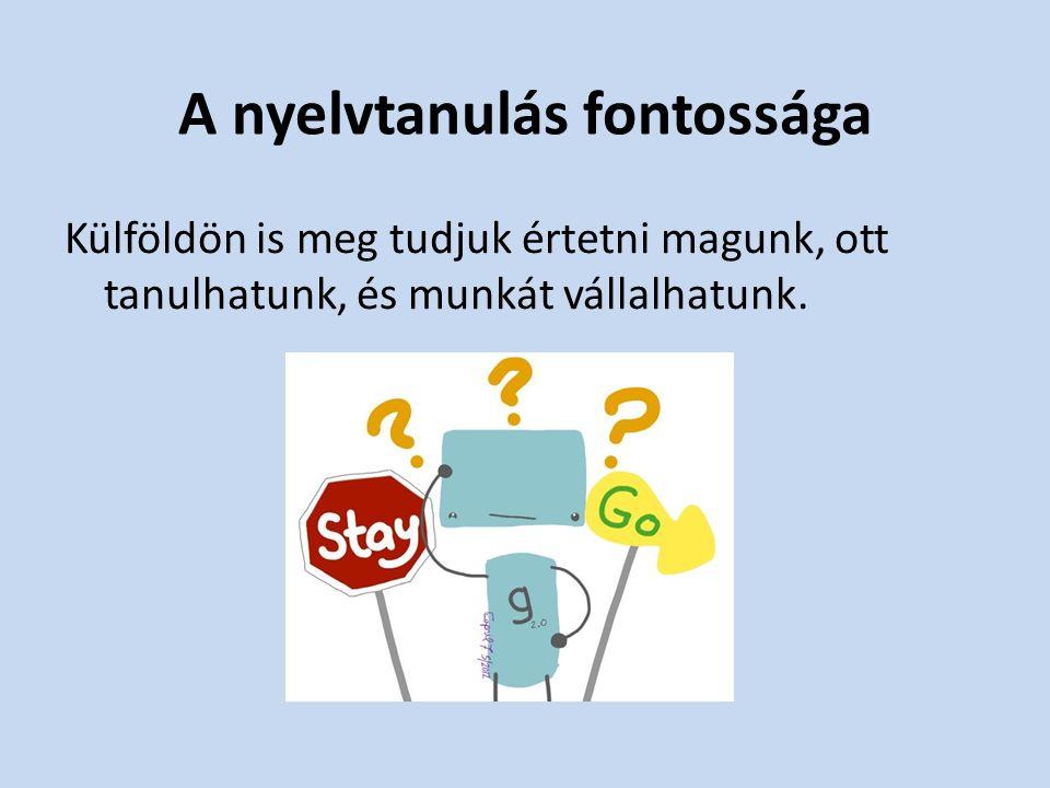 Fontos a nyelvtanulás használata és fejlesztése mindennapi gyakorlás olvasás idegen nyelven tv-nézés zenehallgatás idegen nyelven A nyelv állandóan változik, így az idegen nyelv is.
