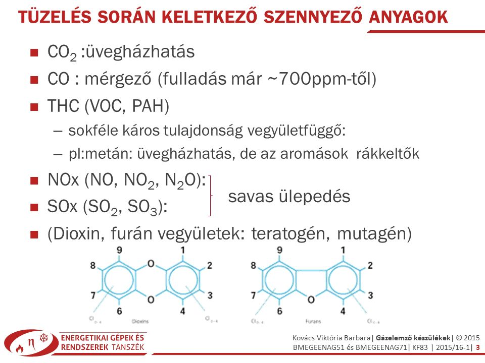 Kovács Viktória Barbara| Gázelemző készülékek| © 2015 BMEGEENAG51 és BMEGEENAG71| KF83 | 2015/16-1| 3 TÜZELÉS SORÁN KELETKEZŐ SZENNYEZŐ ANYAGOK CO 2 :üvegházhatás CO : mérgező (fulladás már ~700ppm-től) THC (VOC, PAH) – sokféle káros tulajdonság vegyületfüggő: – pl:metán: üvegházhatás, de az aromások rákkeltők NOx (NO, NO 2, N 2 O): SOx (SO 2, SO 3 ): (Dioxin, furán vegyületek: teratogén, mutagén) savas ülepedés