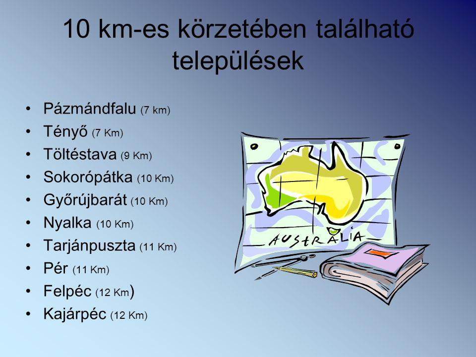 10 km-es körzetében található települések Pázmándfalu (7 km) Tényő (7 Km) Töltéstava (9 Km) Sokorópátka (10 Km) Győrújbarát (10 Km) Nyalka (10 Km) Tarjánpuszta (11 Km) Pér (11 Km) Felpéc (12 Km ) Kajárpéc (12 Km)