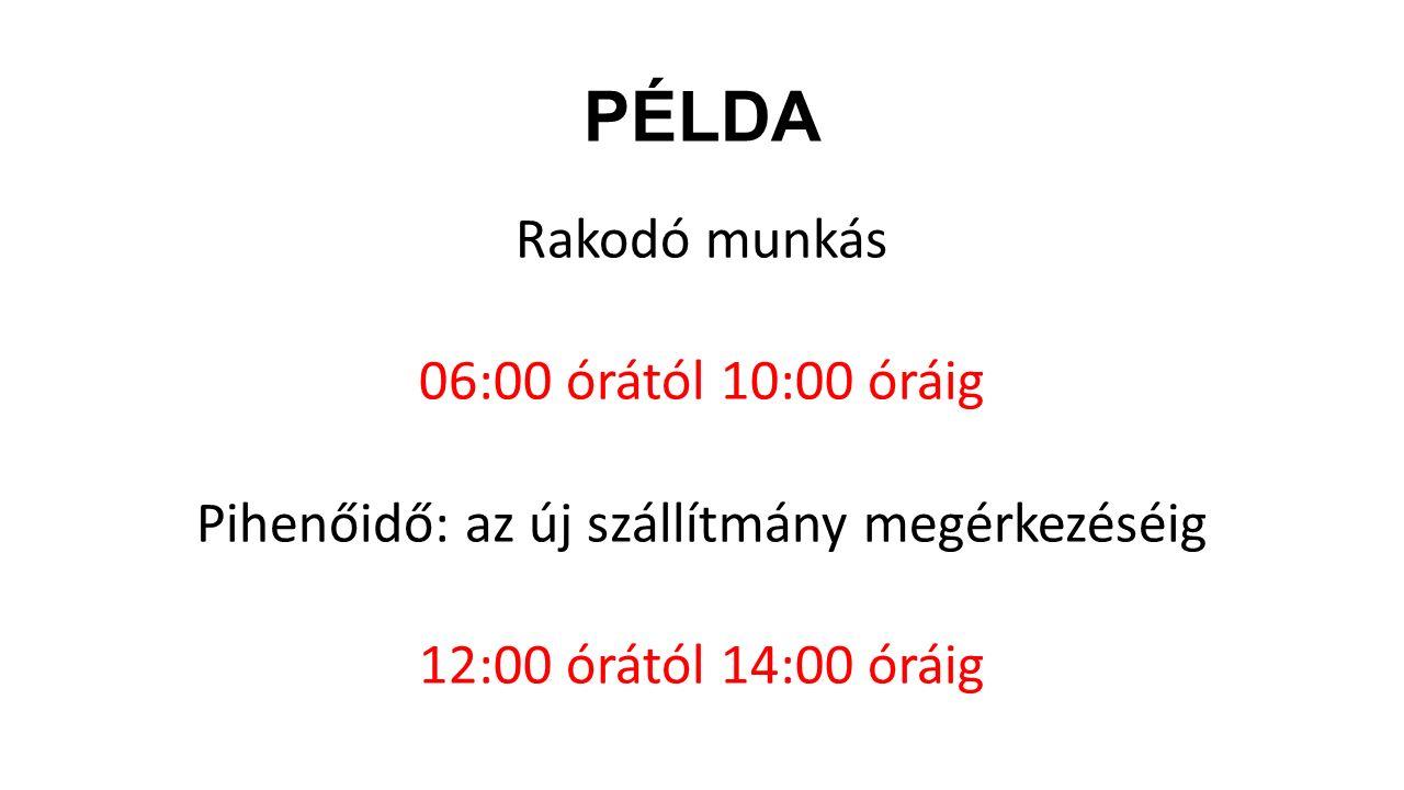 PÉLDA Rakodó munkás 06:00 órától 10:00 óráig Pihenőidő: az új szállítmány megérkezéséig 12:00 órától 14:00 óráig