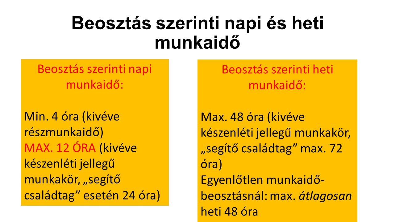 Beosztás szerinti napi és heti munkaidő Beosztás szerinti napi munkaidő: Min. 4 óra (kivéve részmunkaidő) MAX. 12 ÓRA (kivéve készenléti jellegű munka