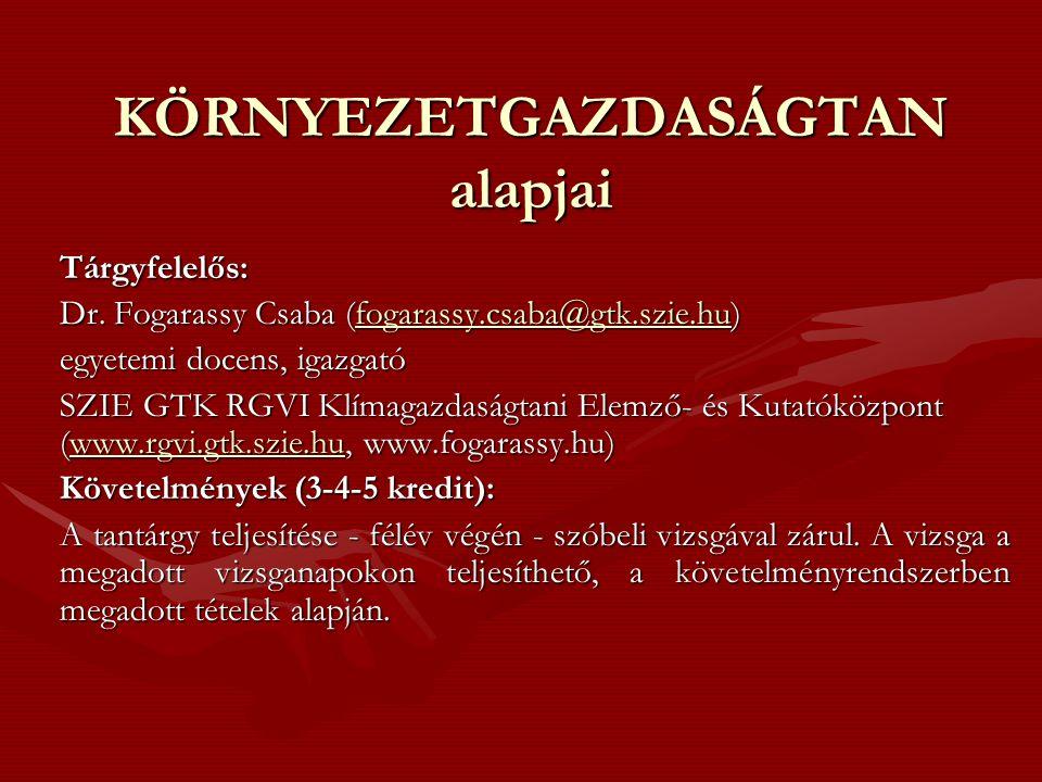 KÖRNYEZETGAZDASÁGTAN alapjai Tárgyfelelős: Dr. Fogarassy Csaba (fogarassy.csaba@gtk.szie.hu) fogarassy.csaba@gtk.szie.hu egyetemi docens, igazgató SZI