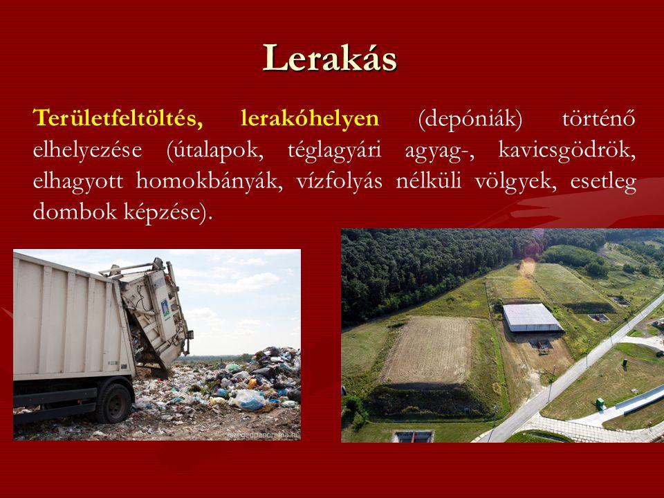 Lerakás Területfeltöltés, lerakóhelyen (depóniák) történő elhelyezése (útalapok, téglagyári agyag-, kavicsgödrök, elhagyott homokbányák, vízfolyás nélküli völgyek, esetleg dombok képzése).