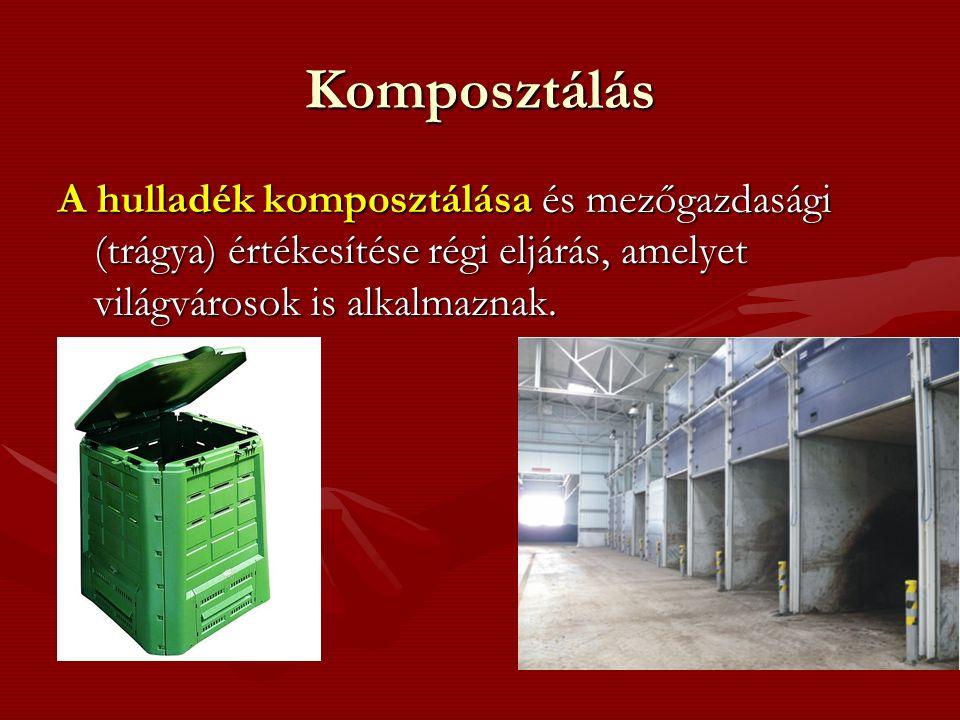 Komposztálás A hulladék komposztálása és mezőgazdasági (trágya) értékesítése régi eljárás, amelyet világvárosok is alkalmaznak.