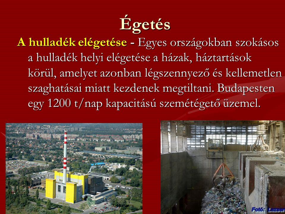 Égetés A hulladék elégetése - Egyes országokban szokásos a hulladék helyi elégetése a házak, háztartások körül, amelyet azonban légszennyező és kellemetlen szaghatásai miatt kezdenek megtiltani.