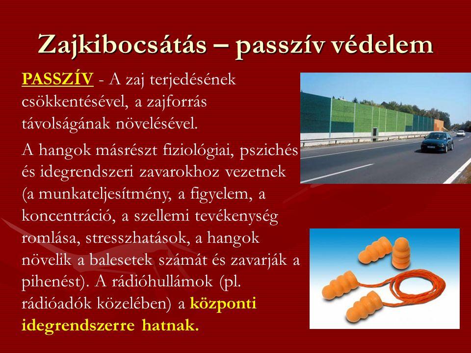 Zajkibocsátás – passzív védelem PASSZÍV - A zaj terjedésének csökkentésével, a zajforrás távolságának növelésével.