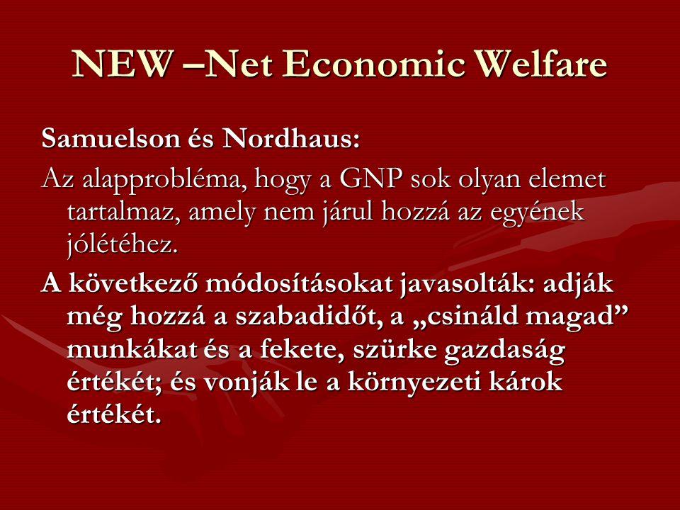 NEW –Net Economic Welfare Samuelson és Nordhaus: Az alapprobléma, hogy a GNP sok olyan elemet tartalmaz, amely nem járul hozzá az egyének jólétéhez.