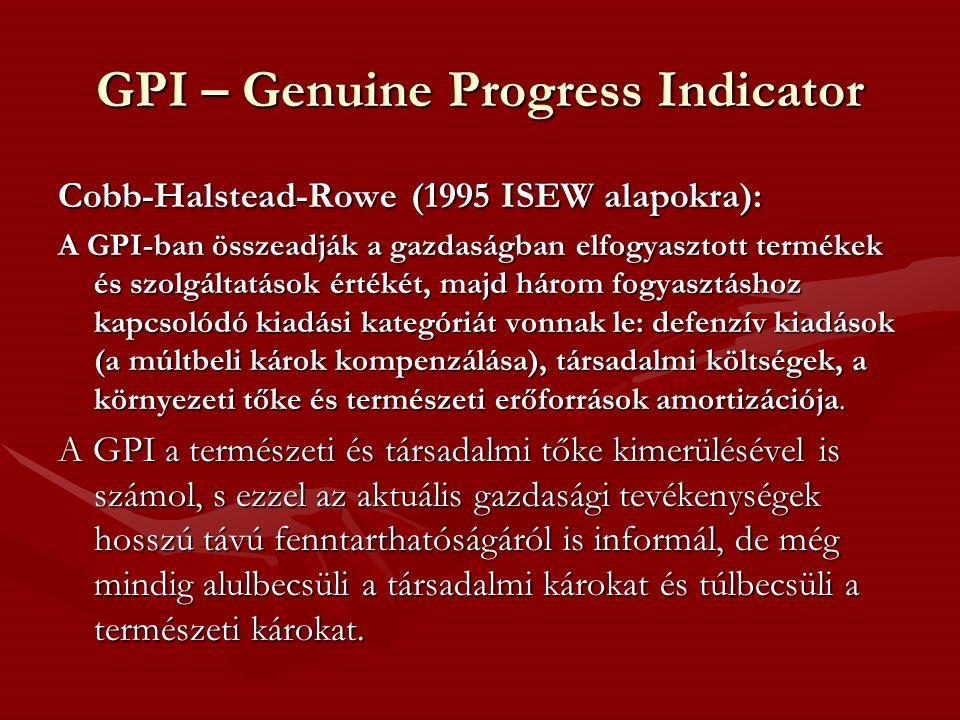 GPI – Genuine Progress Indicator Cobb-Halstead-Rowe (1995 ISEW alapokra): A GPI-ban összeadják a gazdaságban elfogyasztott termékek és szolgáltatások értékét, majd három fogyasztáshoz kapcsolódó kiadási kategóriát vonnak le: defenzív kiadások (a múltbeli károk kompenzálása), társadalmi költségek, a környezeti tőke és természeti erőforrások amortizációja.