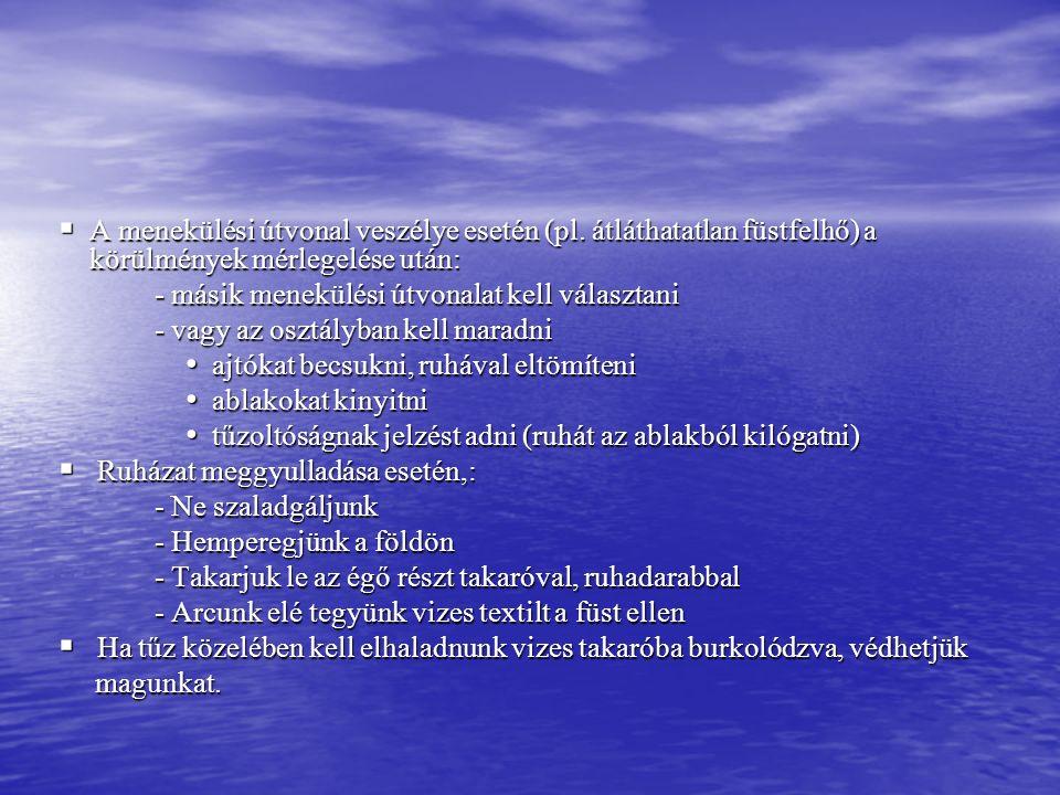  A menekülési útvonal veszélye esetén (pl.