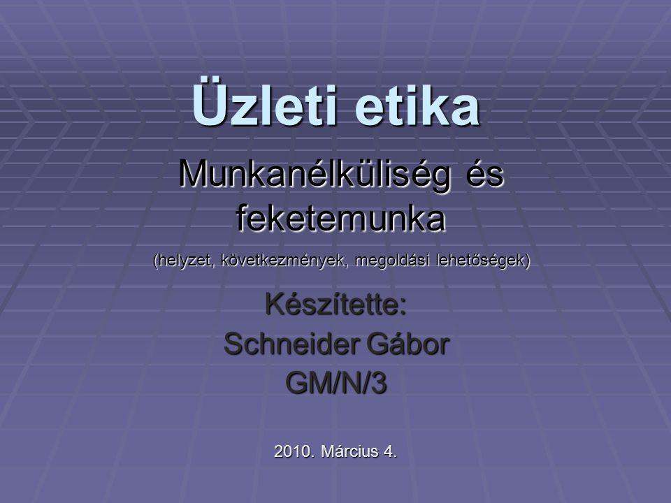 Üzleti etika Készítette: Schneider Gábor GM/N/3 2010. Március 4. Munkanélküliség és feketemunka (helyzet, következmények, megoldási lehetőségek)