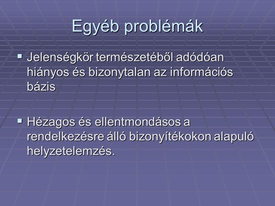Egyéb problémák  Jelenségkör természetéből adódóan hiányos és bizonytalan az információs bázis  Hézagos és ellentmondásos a rendelkezésre álló bizon