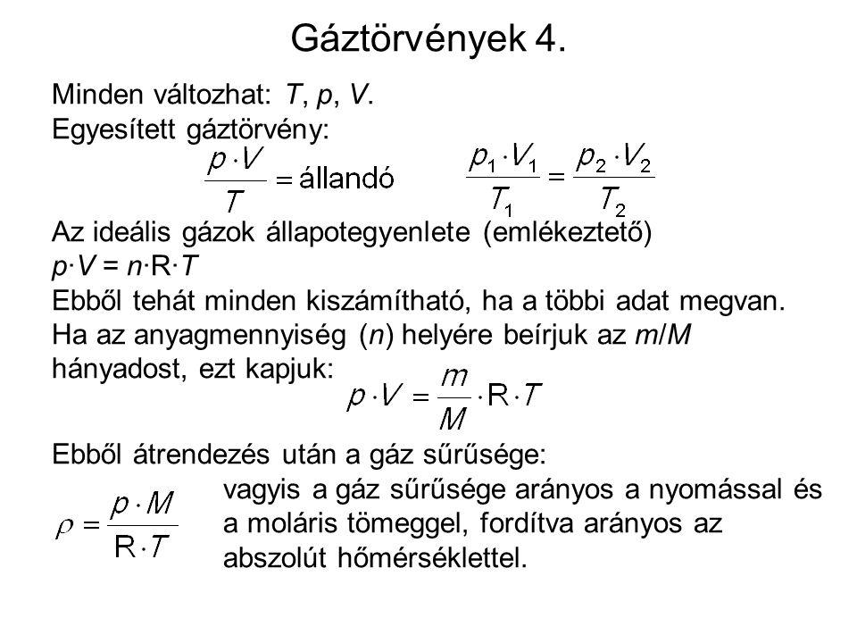 Gáztörvények 4.Minden változhat: T, p, V.