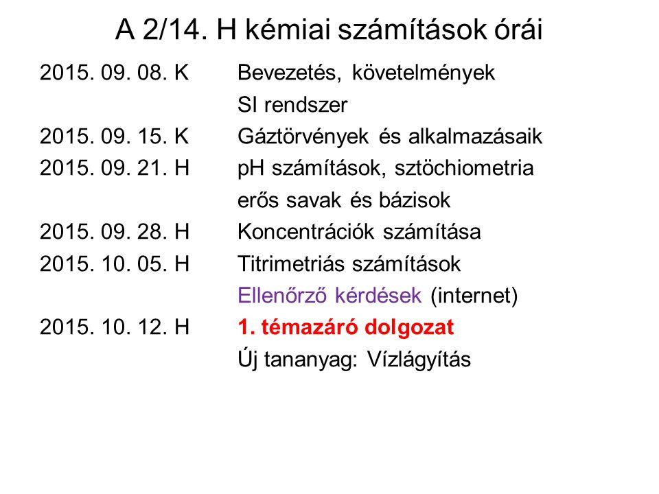 A 2/14.H kémiai számítások órái 2015. 09. 08. KBevezetés, követelmények SI rendszer 2015.