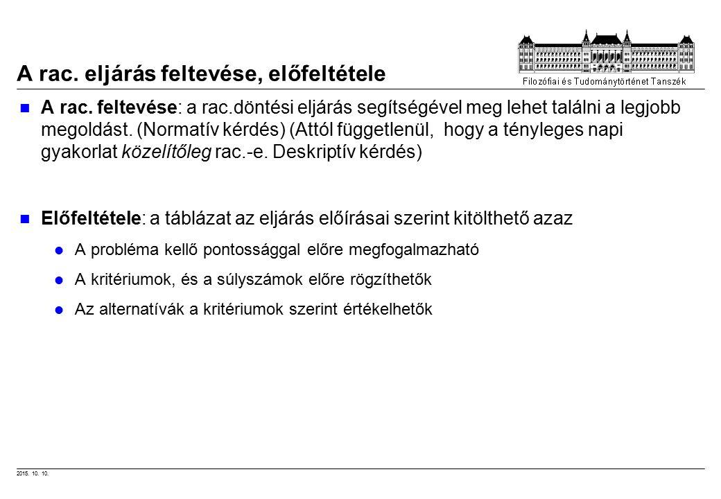 2015. 10. 10. A rac. eljárás feltevése, előfeltétele A rac.